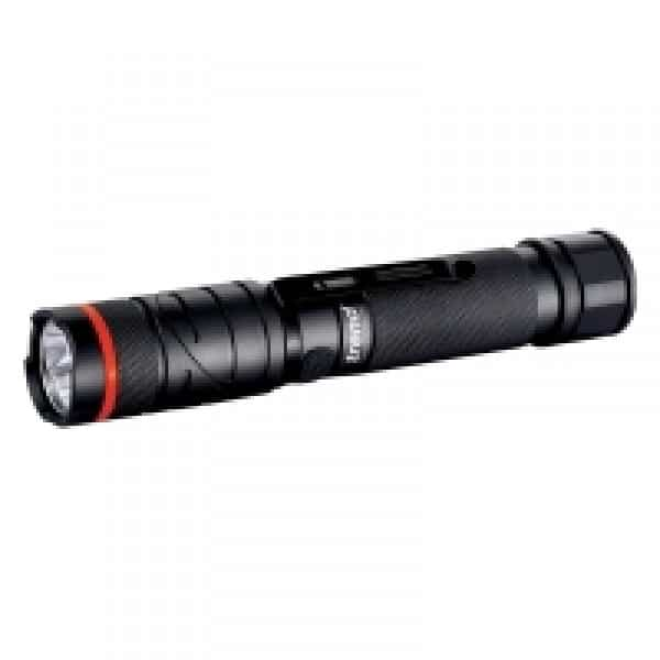 LED rechargeable 300 lumens white light torch with twistable head.