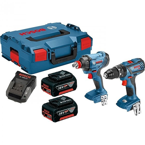 Bosch GSB 18 V-28 Combi & GDX 18 V-180 Impact Driver Twin Kit inc 2x 4.0Ah Batts