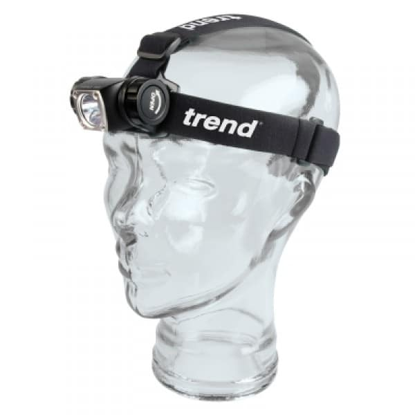 LED 350 lumens white light head torch with pivoting head.